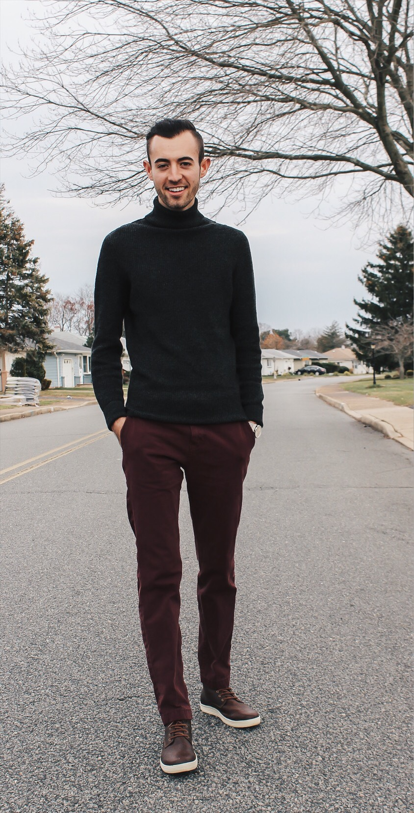 alex, american eagle with turtleneck and maroon pants