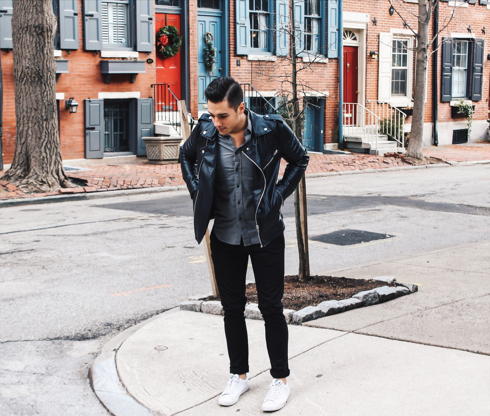 mike on street with leather jacket