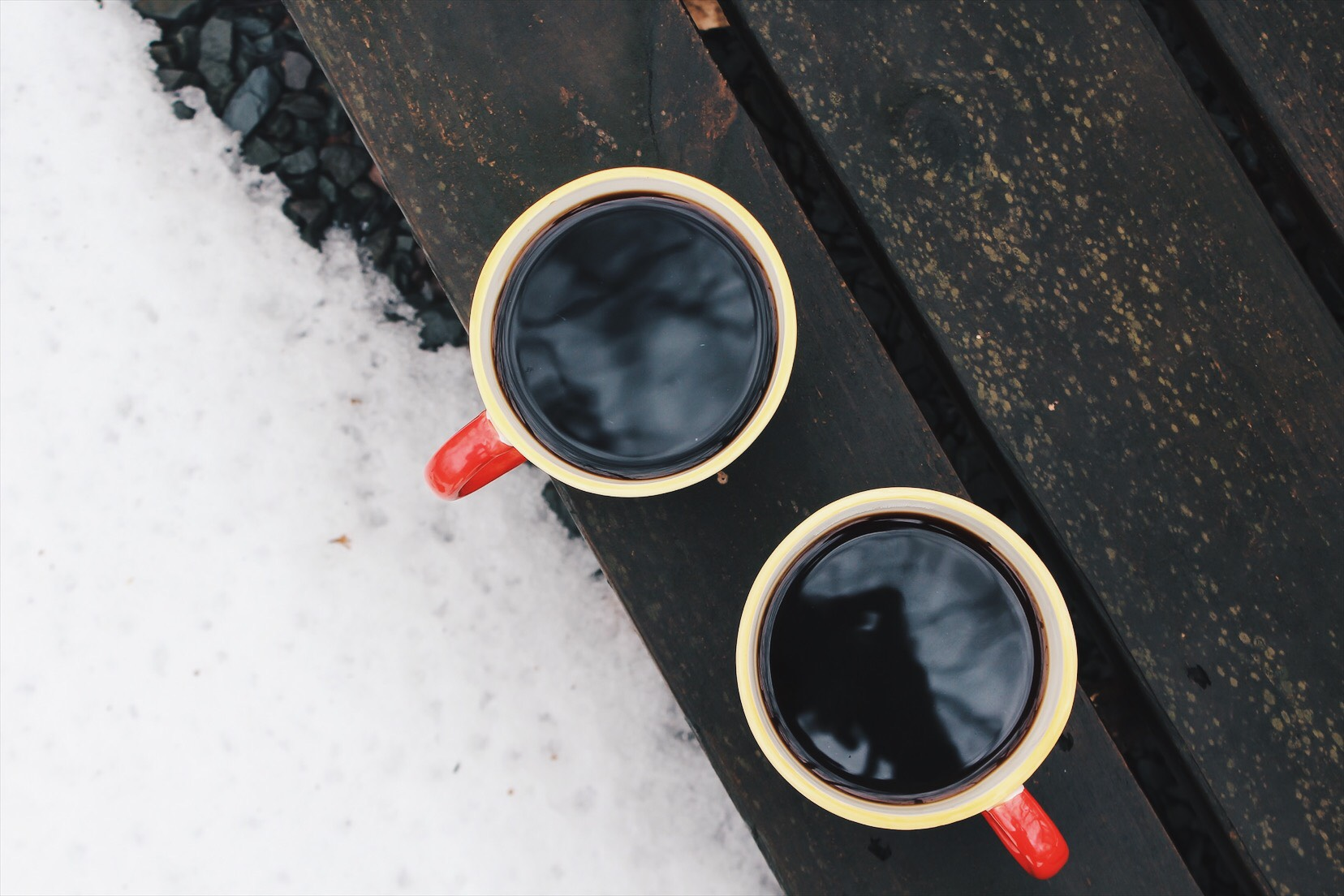 flatlay of 2 cups of coffee