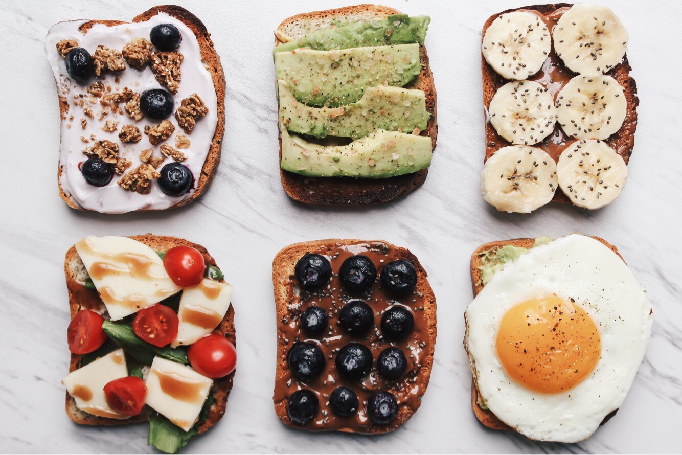flatlay of breakfast toasts