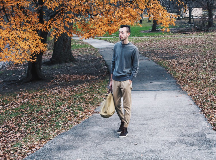 alex walking in the park