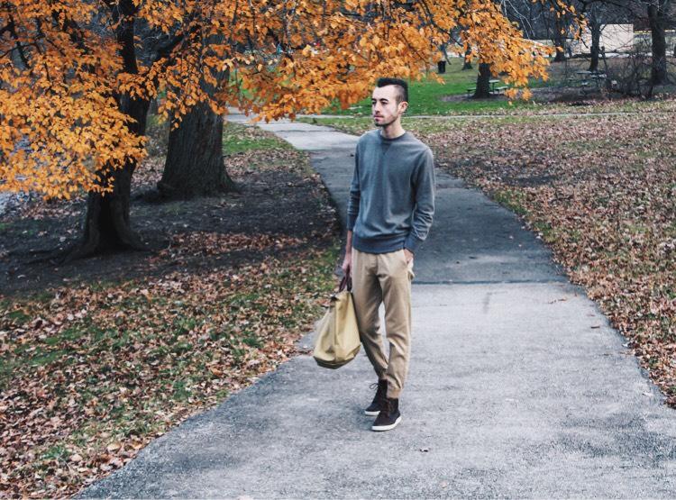 alex walking in the park
