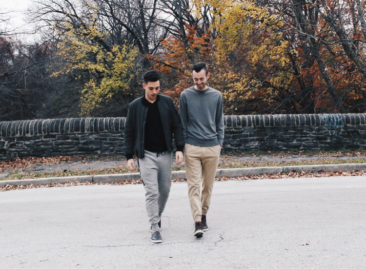 alex and mike walking across the street