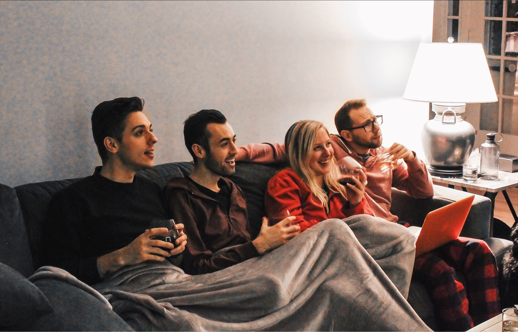 alex and mike's group of friends on couch