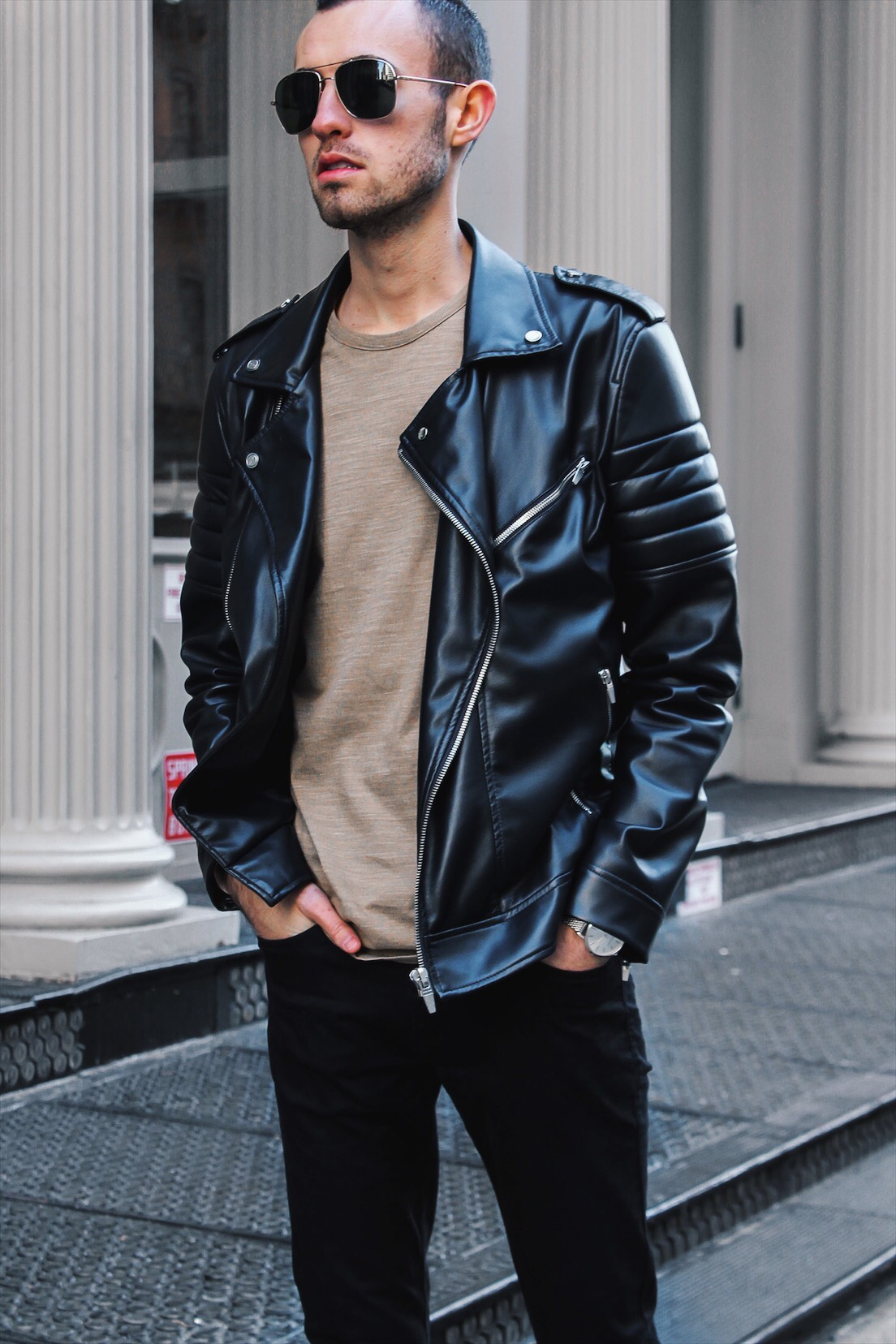 new york fashion week alex in leather jacket