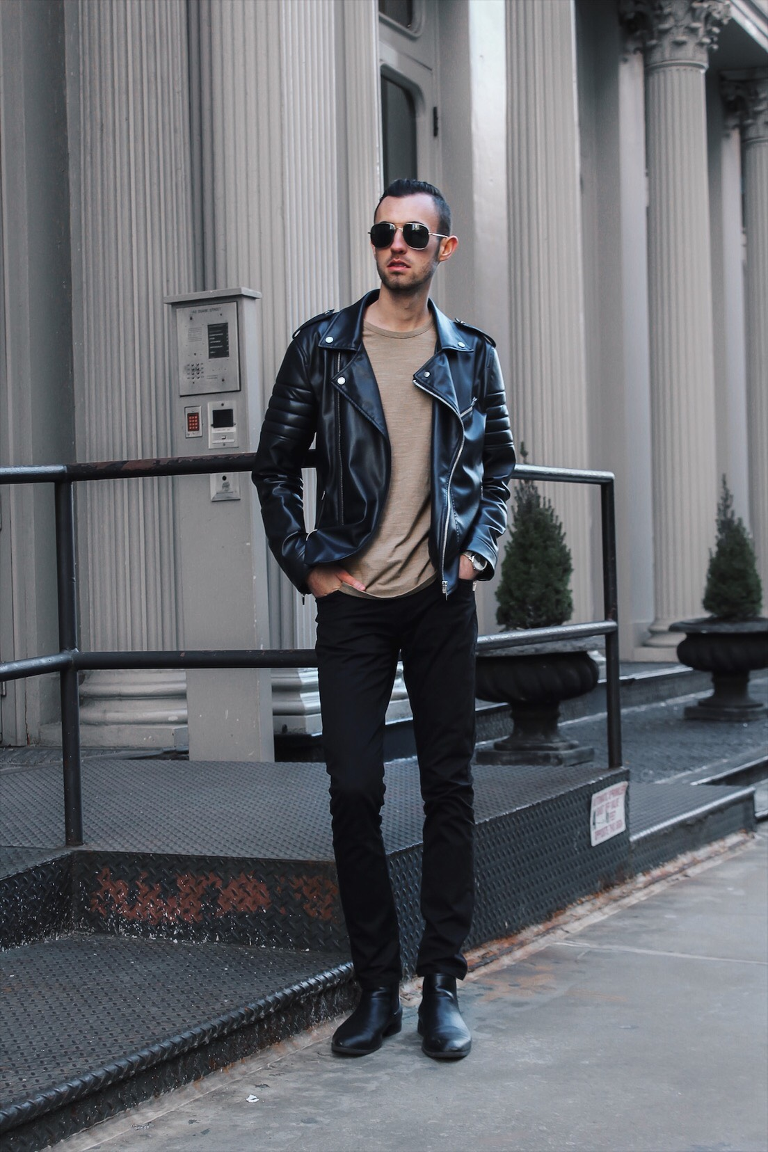 alex at fashion week in leather jacket