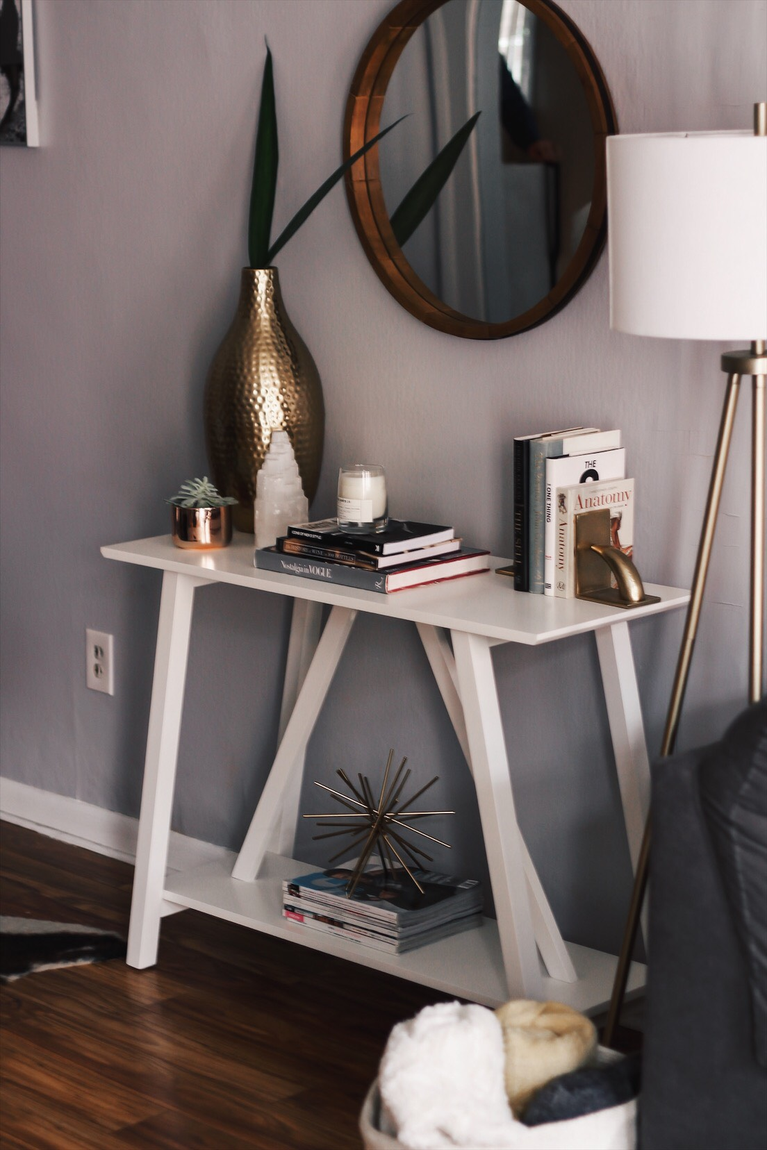 full photo of console table in alex and mikes house