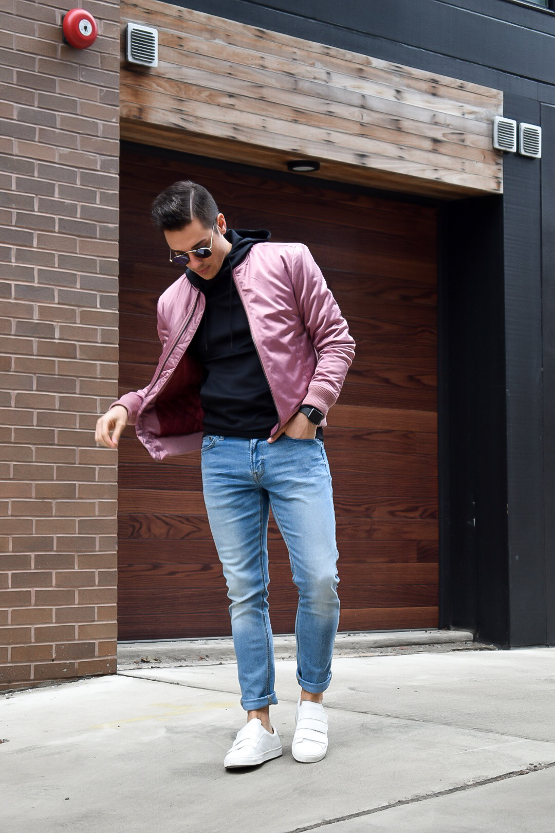 mike with pink guess bomber