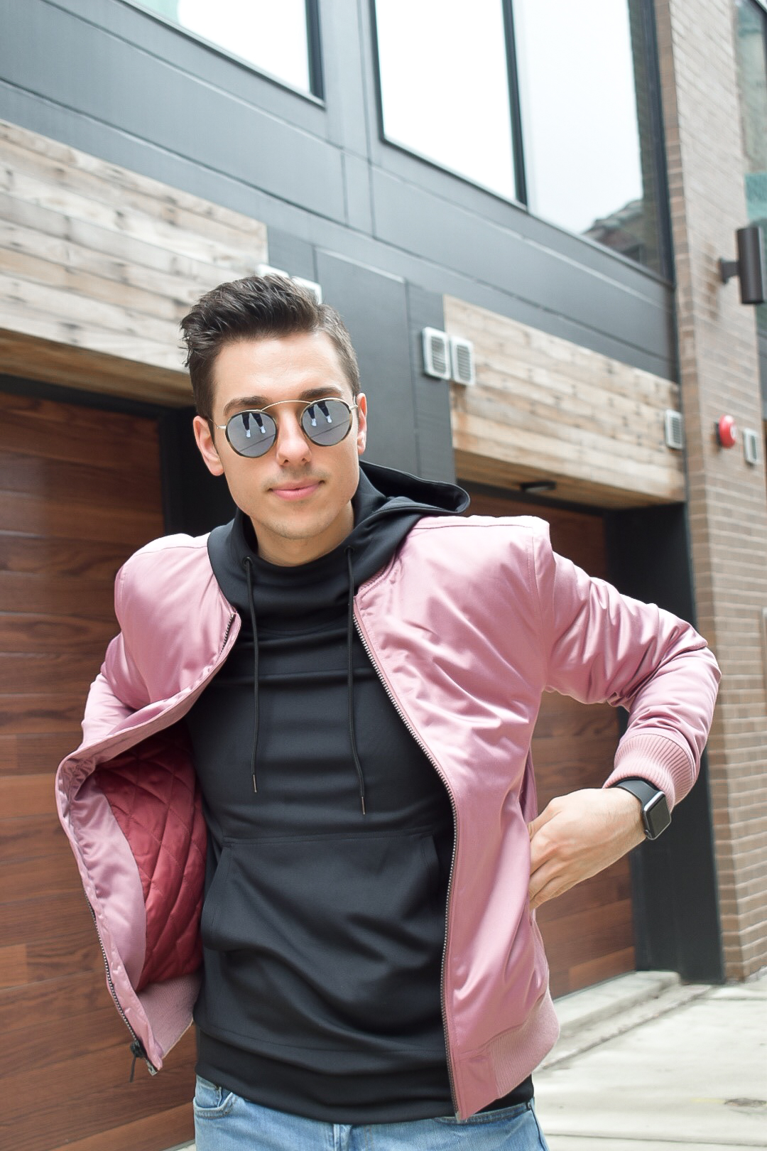 mike with pink guess bomber and spektre sunglasses